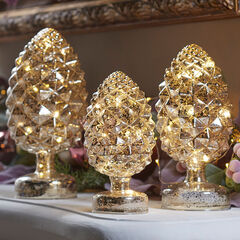 Pre-Lit Mercury Glass Pinecones, Set of 3,