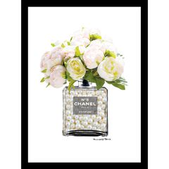 Chanel Bottle Floral Bouquet 14x18 Framed Print, PINK WHITE
