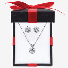 """Platinum over Sterling Silver Pendant (9mm) Round Cubic Zirconia with 18"""" Chain,"""