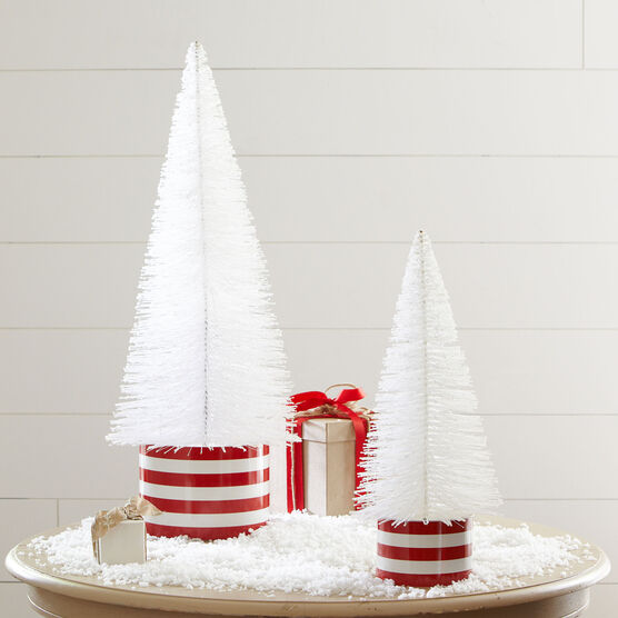 Large Tabletop Glitter Tree, WHITE RED