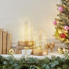 Large Gold Fairy Light Cloche,
