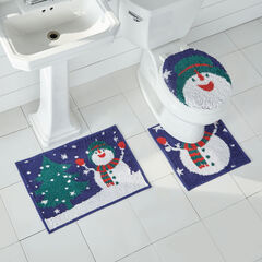 3-Pc. Holiday Bath Rug Set, BLUE SNOWMAN