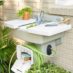 Outdoor Garden Sink with Hose Holder,