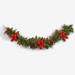 Pre-Lit Classic 6' Garland, GREEN RED