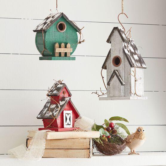 Christmas Birdhouses.Birdhouses Set Of 3 Christmas Brylane Home