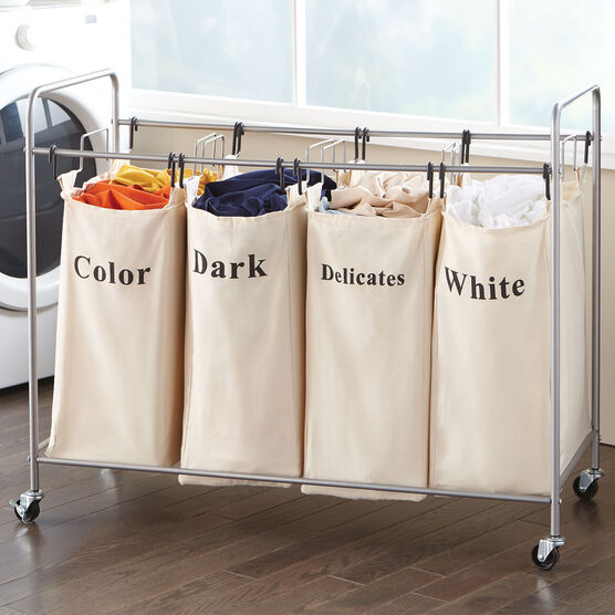 4-Bin Laundry Hamper, TAUPE
