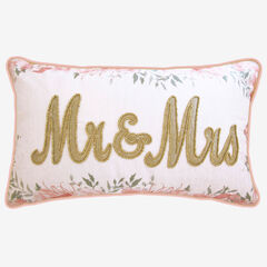 "Floral Beaded ""Mr & Mrs"" Decorative Pillow,"