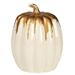 Small Ivory Pumpkin with Goldtone Frosting,