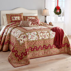 Josephine Patchwork Bedspread, RED MULTI