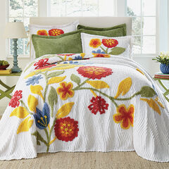 Bloom Chenille Bedspread, RED MULTI