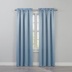 BH Studio Room-Darkening Rod-Pocket Panel, POWDER BLUE DIAMOND
