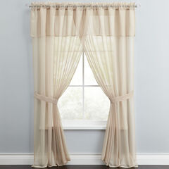 Bh Studio Sheer Voile 5 Pc One Rod Curtain Set