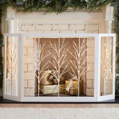 Lighted Birch Twig Decorative Screen,