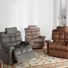 Oversized Pillowtop Recliner with Square Tufted Back,