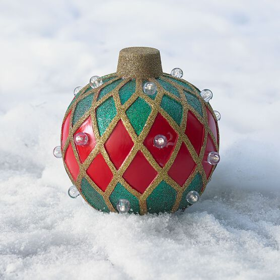 Small Pre-Lit Outdoor Ornament, RED GOLD GREEN