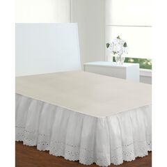 "Fresh Ideas Ruffled Eyelet 18"" Bed Skirt, Twin,"