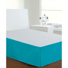 "Luxury Hotel Classic Tailored 14"" Drop Turquoise Bed Skirt, TURQUOISE AQUA"