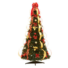 Flat-To-Fabulous Fully Decorated, Pre-Lit 6-Ft. Christmas Tree ,