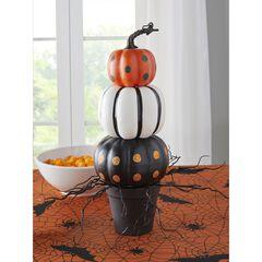 """18"""" Pumpkin Stack in Black Pot, BLACK WHITE ORANGE"""