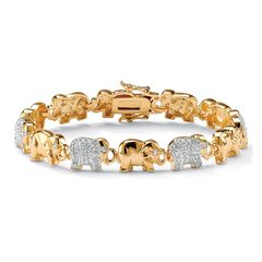 Gold-Plated Round Elephant Charm Bracelet Cubic Zirconia,