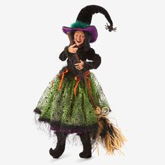 "30""H Posable Witches, BROOM"