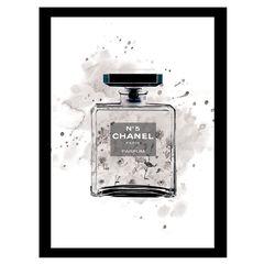 Chanel Bottle Watercolor Roses - Grey / Black - 14x18 Framed Print,