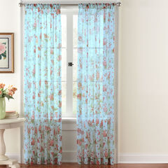 Hydrangeas Crushed Voile Rod-Pocket Panel,