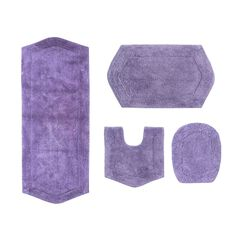 Waterford 4 Piece Set Bath Rug Collection With Lid Cover,