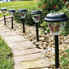 Tiffany Style Solar Stake Lights, Set of 5,