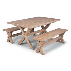 Cambridge White Trestle Table & 2 Benches,