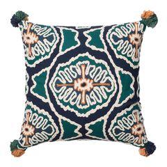 Modern Square Tribal Decorative Pillow With Pom-Poms,
