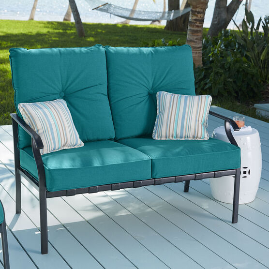 Deep Seating Steel Slat Loveseat, TEAL
