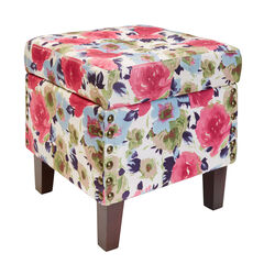 Vienna Tufted Ottoman Storage Bench, GARDEN BLOOM
