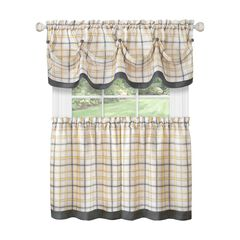 Tattersall Window Curtain Tier Pair and Valance Set - 58x24,