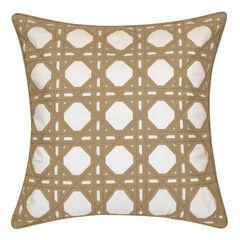 Indoor & Outdoor Rattan Geometric Decorative Pillow,