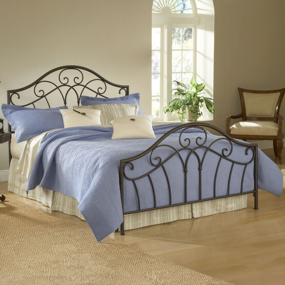 """Queen Bed with Bed Frame, 83½""""Lx61""""Wx54""""H, METALLIC BROWN"""