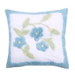 Bloomfield Collection in Floral Design 100% Cotton Tufted Chenille Square Pillow by Better Trends,