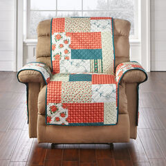 Printed Faux Patchwork Recliner Protector, RED GREEN