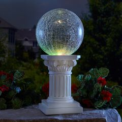 Color-Changing Crackle Glass Ball on Column,