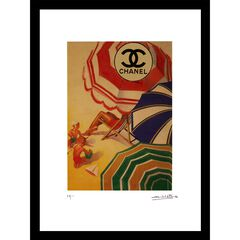 Vintage Chanel Beach Umbrellas 14x18 Framed Print,