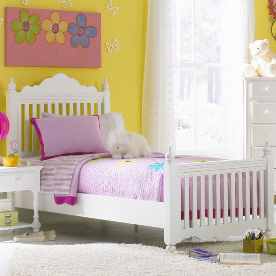 """Full Bed Set with Side Rails, 82½""""Lx57Wx52½""""H, WHITE"""