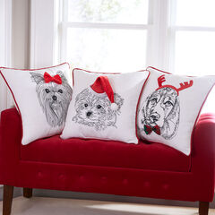 Holiday Dog with Hat Pillow,