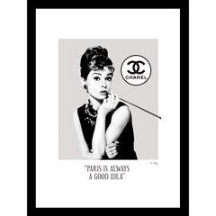 """Audrey Hepburn Black/White 14"""" x 18"""" Framed Print,"""