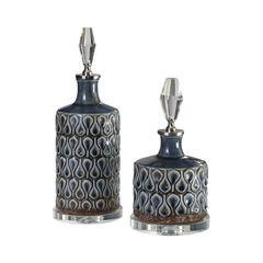 Varuna Cobalt Blue Bottles, Set of 2,