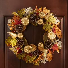 "4"" Gold Pumpkin Harvest Wreath,"
