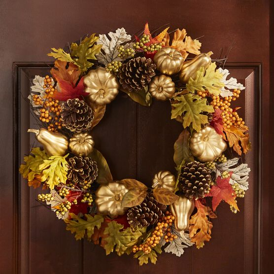 "24"" Gold Pumpkin Harvest Wreath, GOLD"