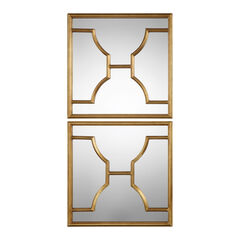 Misa Gold Square Mirrors, Set of 2,