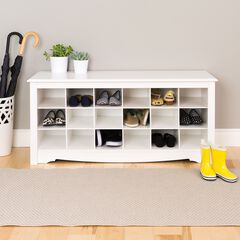 18-Pair Shoe Storage Cubby Bench,