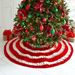 Candy Stripe Pleated Tree Skirt, MULTI