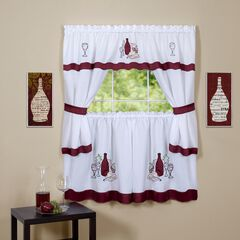 Cabernet Embellished Cottage Window Curtain Set,